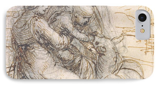 Virgin And Child With St. Anne IPhone Case by Leonardo da Vinci