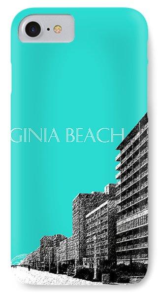 Virginia Beach Skyline Boardwalk  - Aqua IPhone Case by DB Artist