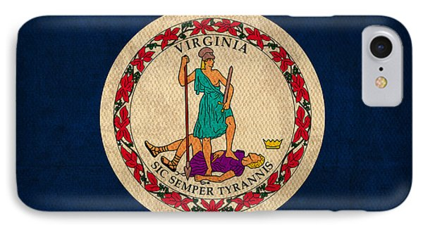Virginia State Flag Art On Worn Canvas IPhone Case by Design Turnpike