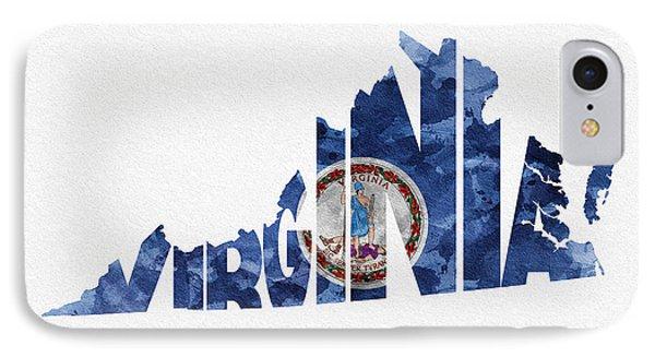 Virginia Typographic Map Flag IPhone Case by Ayse Deniz