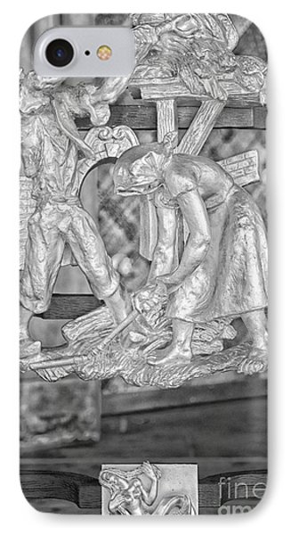 Virgo Zodiac Sign - St Vitus Cathedral - Prague - Black And White IPhone Case by Ian Monk