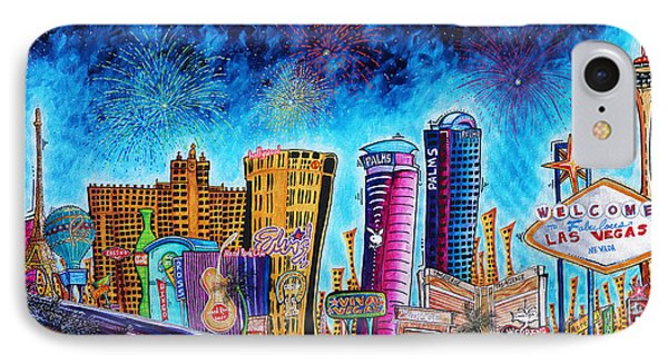 Viva Las Vegas A Fun And Funky Pop Art Painting Of The Vegas Skyline And Sign By Megan Duncanson IPhone Case by Megan Duncanson