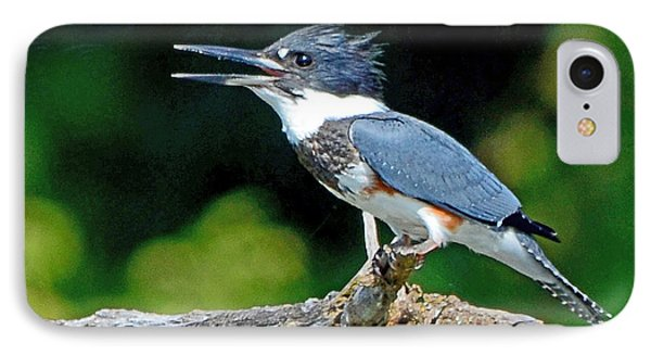 IPhone Case featuring the photograph Vocal Belted Kingfisher by Rodney Campbell