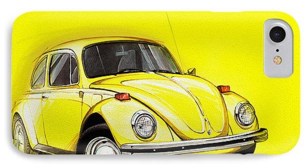Volkswagen Beetle Vw Yellow IPhone Case by Etienne Carignan