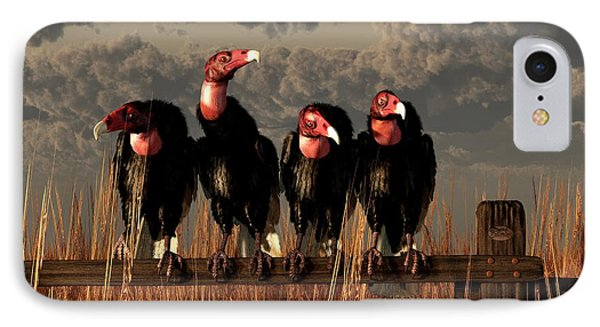 Vultures On A Fence IPhone Case by Daniel Eskridge