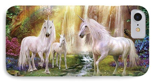 Waaterfall Glade Unicorns IPhone 7 Case by Jan Patrik Krasny