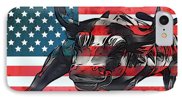 Wall Street Bull American Flag IPhone Case by Dan Sproul