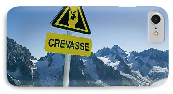 Warning Sign Above Mer Du Glace IPhone Case by Ashley Cooper