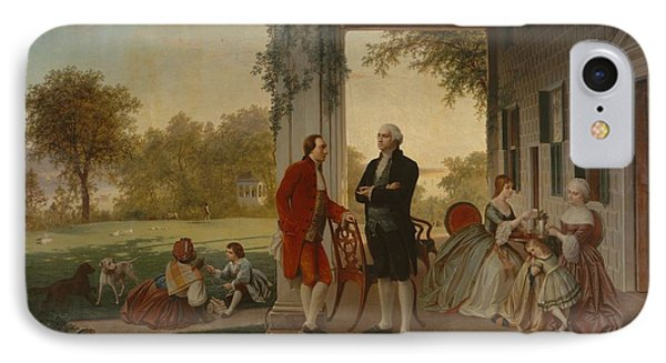 Washington And Lafayette At Mount Vernon 1784 IPhone Case by Thomas Pritchard Rossiter