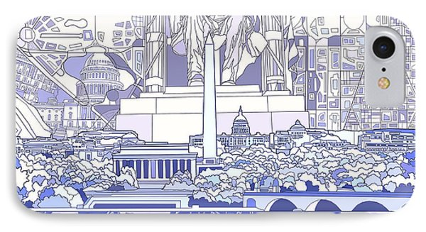 Washington Dc Skyline Abstract 3 IPhone Case by Bekim Art