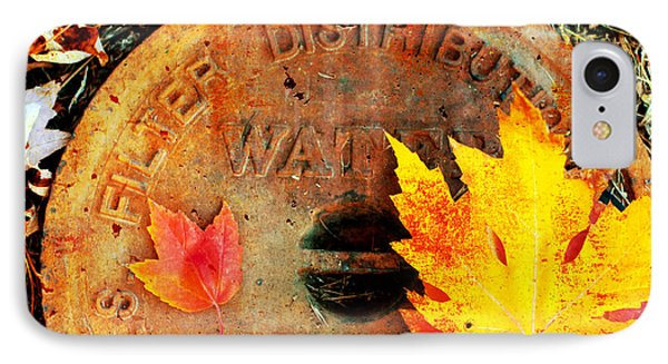 Water Meter Cover With Autumn Leaves Abstract Phone Case by Andee Design