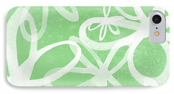 Waterflowers- Green And White Phone Case by Linda Woods