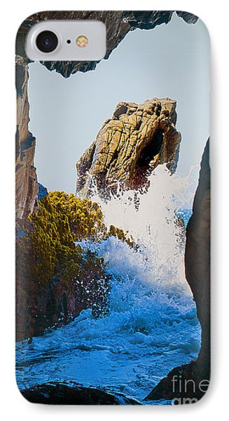Wave Through The Cave At Pfiffer Beach In Big Sur Phone Case by Artist and Photographer Laura Wrede