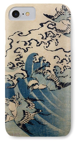 Waves And Birds IPhone Case by Katsushika Hokusai