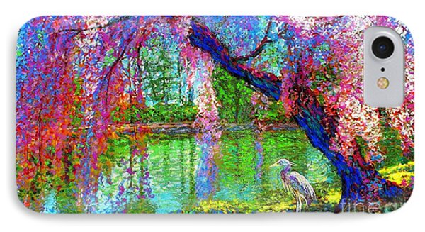 Weeping Beauty, Cherry Blossom Tree And Heron IPhone Case by Jane Small