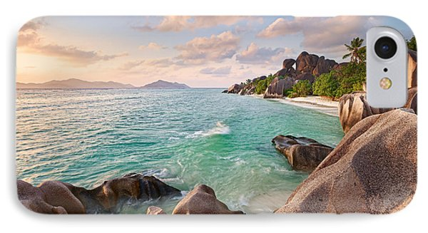 Welcome To La Digue Phone Case by Michael Breitung