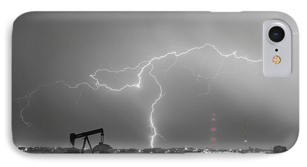 Weld County Dacona Oil Fields Lightning Thunderstorm Bwsc IPhone Case by James BO  Insogna