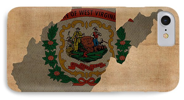 West Virginia State Flag Map Outline With Founding Date On Worn Parchment Background IPhone Case by Design Turnpike