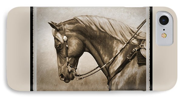 Western Horse Old Photo Fx IPhone Case by Crista Forest