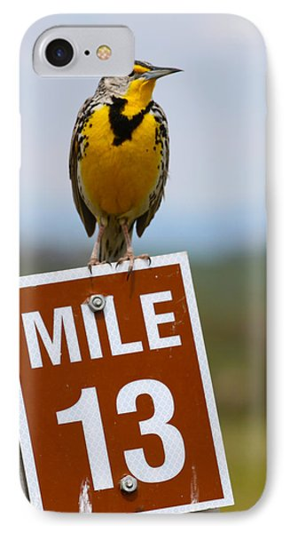 Western Meadowlark On The Mile 13 Sign IPhone Case by Karon Melillo DeVega
