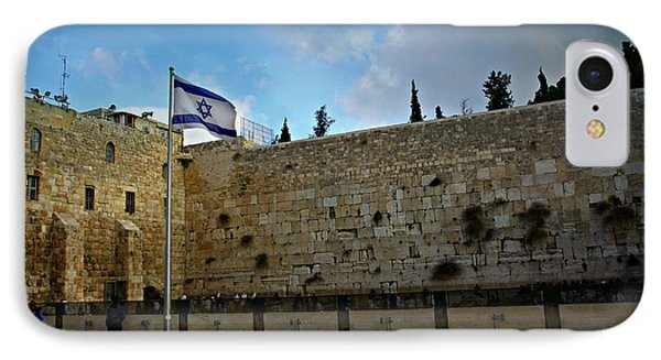 Western Wall And Israeli Flag IPhone Case by Stephen Stookey