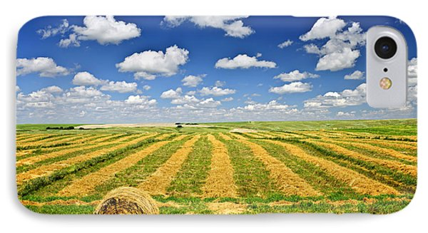 Wheat Farm Field And Hay Bales At Harvest In Saskatchewan IPhone Case by Elena Elisseeva