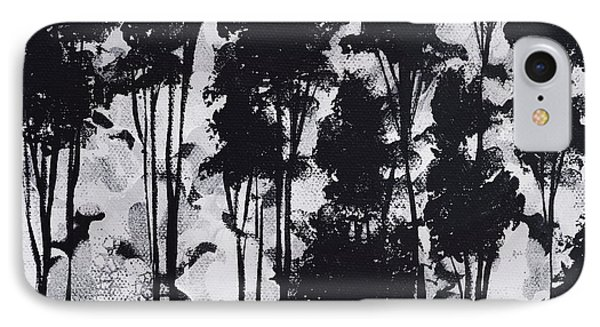 Whimsical Black And White Landscape Original Painting Decorative Contemporary Art By Madart Studios Phone Case by Megan Duncanson