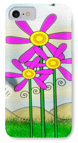 Whimsical Flowers IPhone Case by Gina Lee Manley