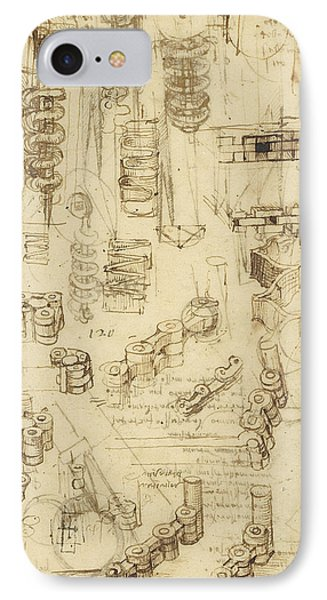 Whirling Rotation And Helicoidal Chains And Springs For Mechanical Devices IPhone Case by Leonardo Da Vinci