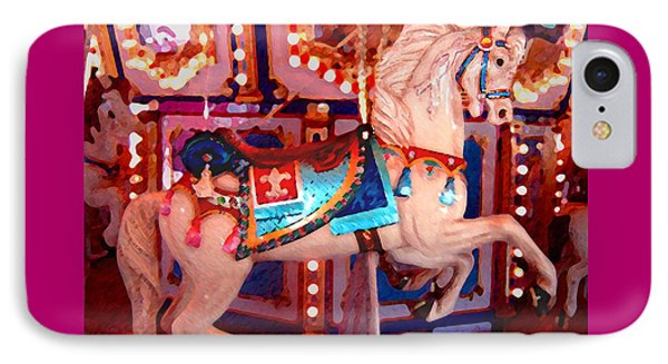 White Carousel Horse Phone Case by Amy Vangsgard