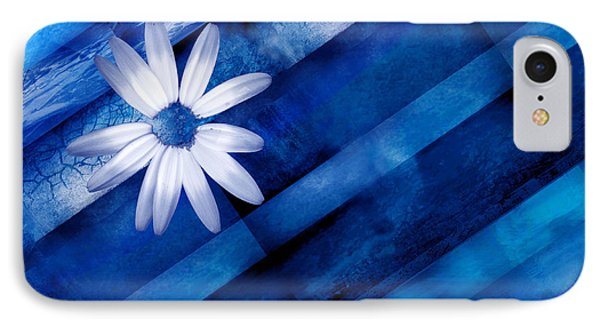 White Daisy On Blue Two Phone Case by Ann Powell