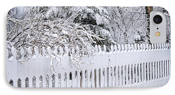 White Fence With Winter Trees IPhone Case by Elena Elisseeva