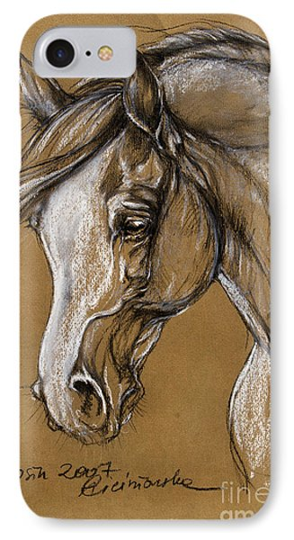 White Horse Soft Pastel Sketch Phone Case by Angel  Tarantella
