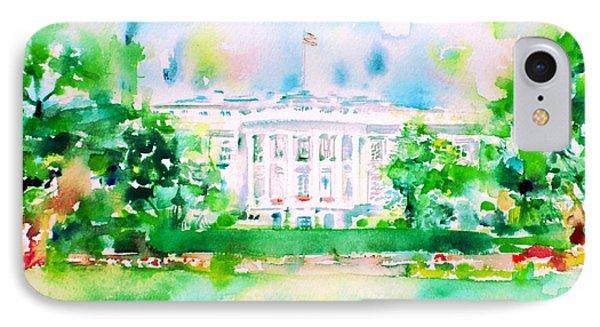 White House - Watercolor Portrait IPhone Case by Fabrizio Cassetta