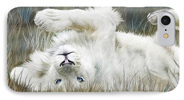 White Lion - Wild In The Grass IPhone Case by Carol Cavalaris
