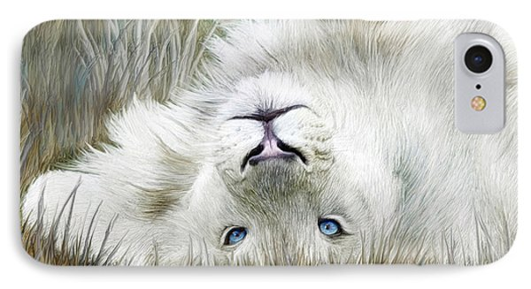 White Lion - Wild In The Grass Sq IPhone Case by Carol Cavalaris