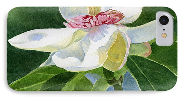 White Magnolia Square Design IPhone Case by Sharon Freeman