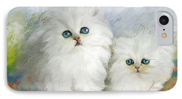 White Persian Kittens  IPhone 7 Case by Catf