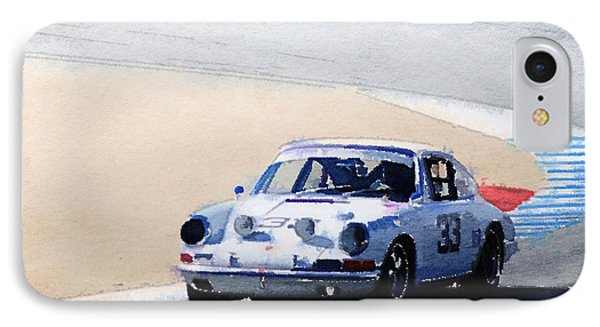 White Porsche 911 In Monterey Watercolor IPhone Case by Naxart Studio