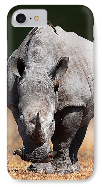 White Rhinoceros  Front View IPhone Case by Johan Swanepoel