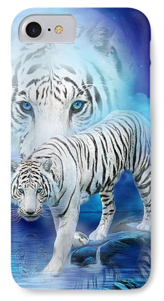White Tiger Moon IPhone Case by Carol Cavalaris