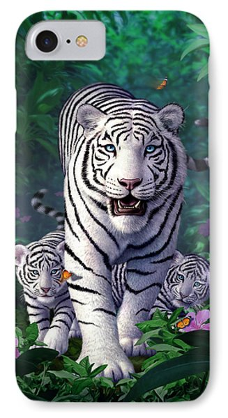 White Tigers IPhone Case by Jerry LoFaro
