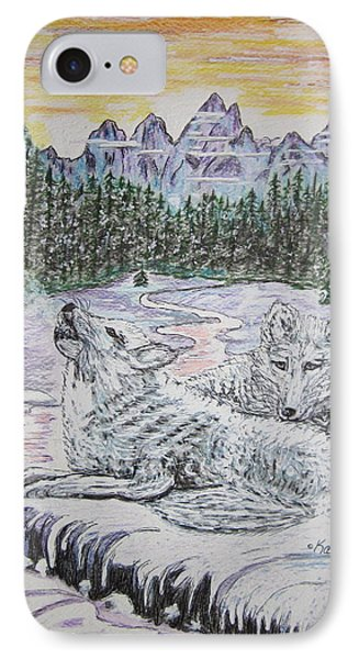 White Wolves Phone Case by Kathy Marrs Chandler