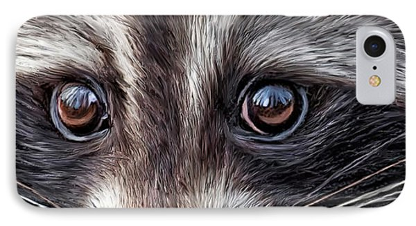Wild Eyes - Raccoon IPhone Case by Carol Cavalaris