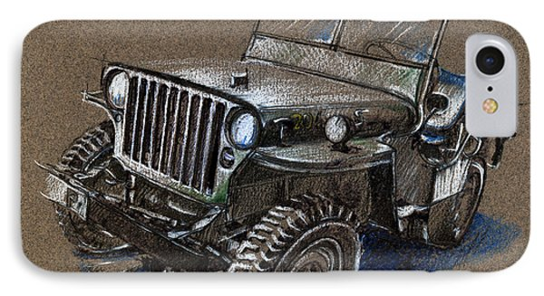 Willys Car Drawing Phone Case by Daliana Pacuraru