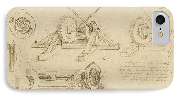 Winch Great Spring Catapult And Ladder From Atlantic Codex IPhone Case by Leonardo Da Vinci