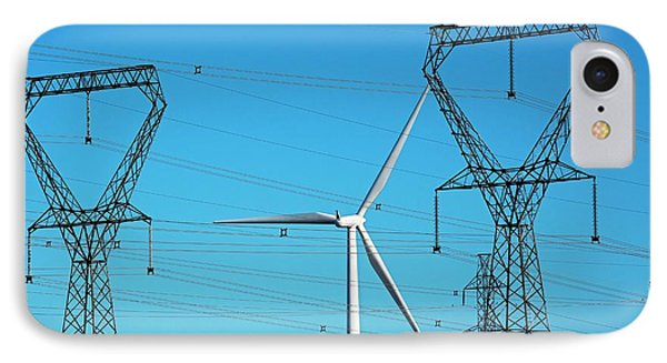 Wind Turbine And Electricity Pylons IPhone Case by Jim West