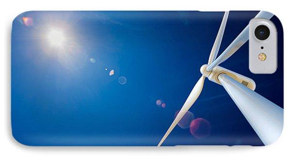 Wind Turbine And Sun  Phone Case by Johan Swanepoel