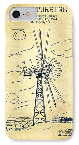 Wind Turbine Patent From 1944 - Vintage IPhone Case by Aged Pixel