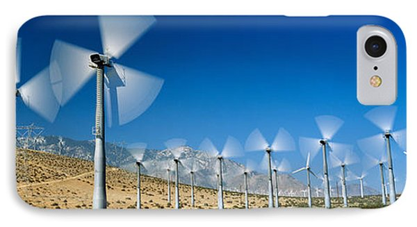 Wind Turbines Spinning In A Field, Palm IPhone Case by Panoramic Images